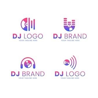 Conjunto de logo de dj de color degradado