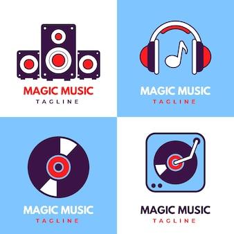 Conjunto de logo de dj de diseño plano