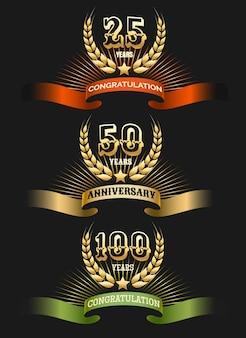 Conjunto de logo dorado aniversario