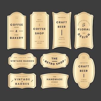 Conjunto de logo dorado vintage