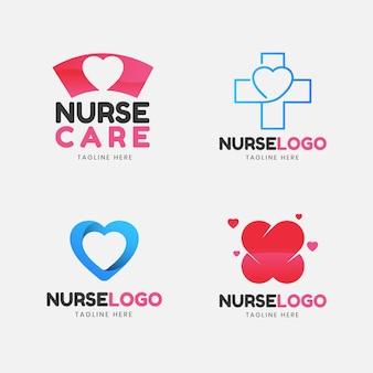 Conjunto de logo de enfermera de diseño plano