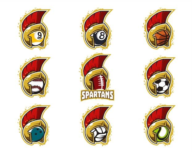Conjunto de logo del equipo espartano de pelota deportiva.