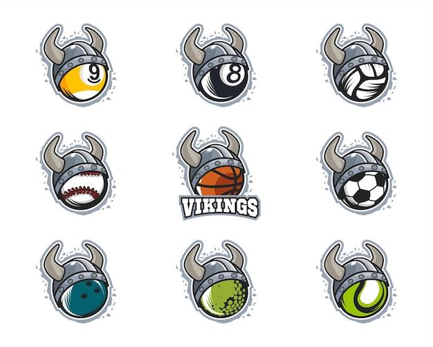 Conjunto de logo del equipo vikingo de pelota deportiva.