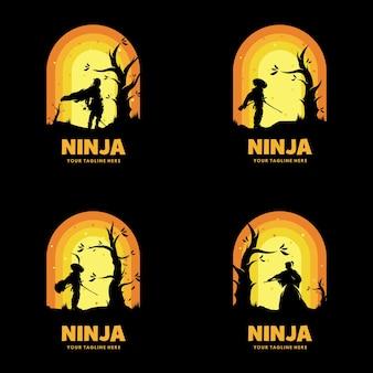 Conjunto de logo de espada ninja de japón