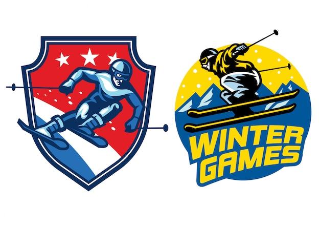 Conjunto de logo de esquí