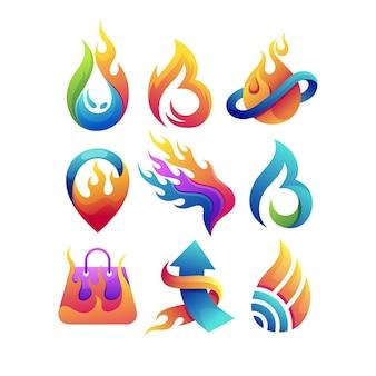 Conjunto de logo de fuego con concepto múltiple.