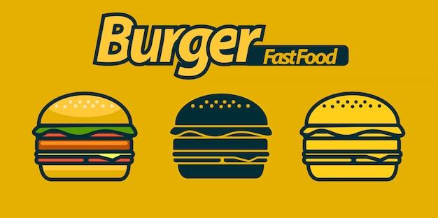 Conjunto de logo de hamburguesa