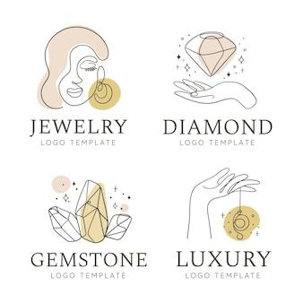 Conjunto de logo de joyería dibujado a mano