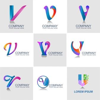 Conjunto de logo de letra v