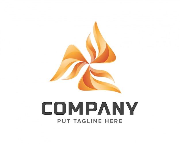 Conjunto de logo de molino de viento creativo