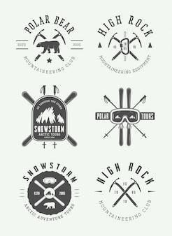 Conjunto de logo de montañismo ártico