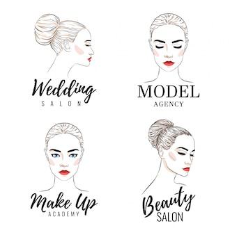 Conjunto de logo de mujer hermosa, logo de academia modelo,
