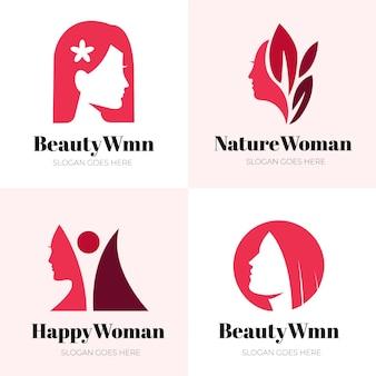 Conjunto de logo de mujer plana
