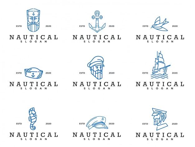 Conjunto de logo náutico