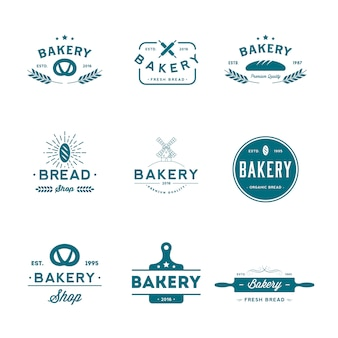 Conjunto de logo de panadería.