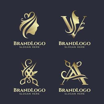 Conjunto de logo de peluquería dorada