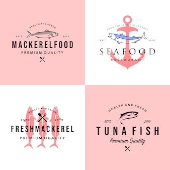 Conjunto de logo de pescados y mariscos