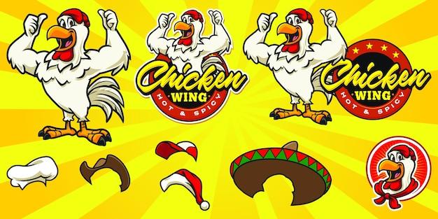 Conjunto de logo de pollo de dibujos animados feliz
