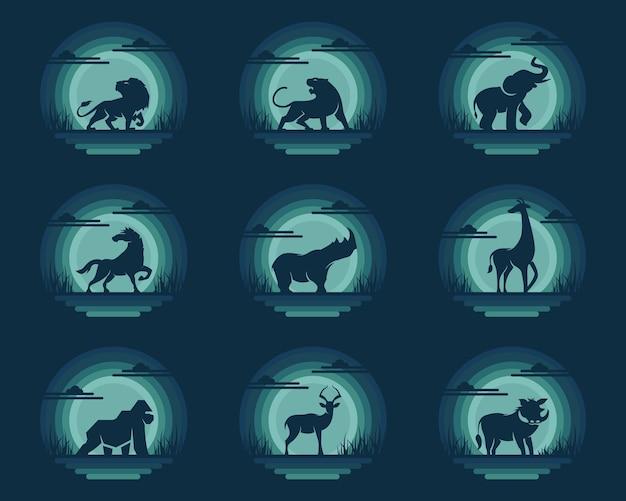 Conjunto de logo de safari de animales.