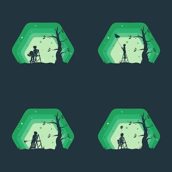 Conjunto de logo de sueño de niños