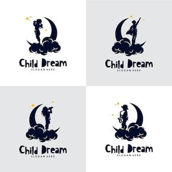 Conjunto de logo de sueños infantiles.