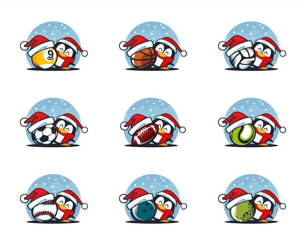 Conjunto de logo de tema navideño de pelota deportiva
