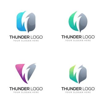 Conjunto de logo de trueno