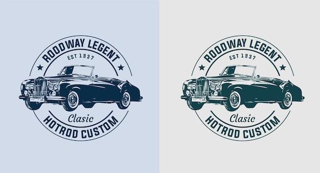 Conjunto de logo vintage de coche viejo