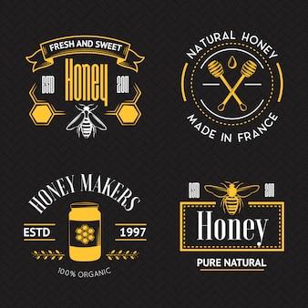 Conjunto logo vintage miel