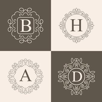 Conjunto de logo vintage monograma