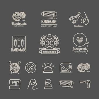 Conjunto de logos artesanales.