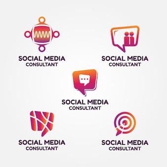 Conjunto de logos de consultor de redes sociales