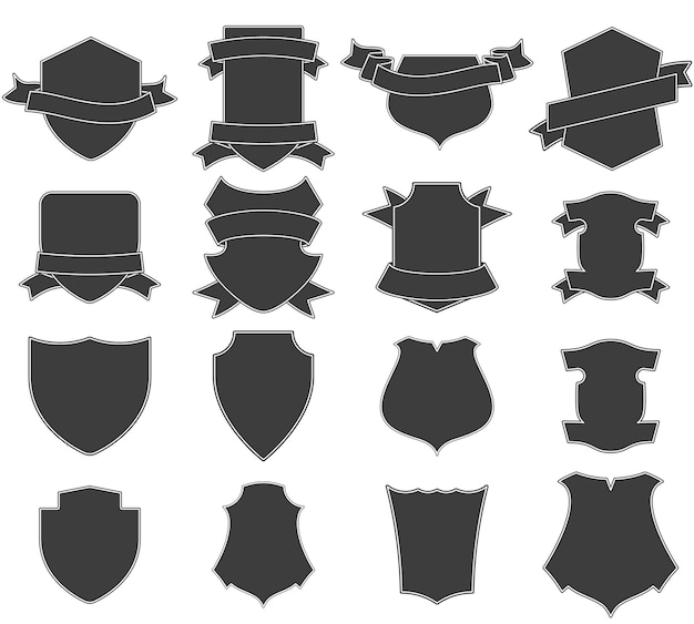 Conjunto de logos de escudos.