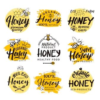 Conjunto de logos para productos de miel.