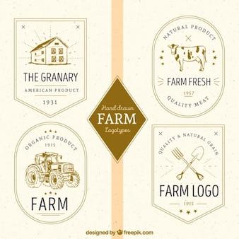 Conjunto de logos vintage de granja