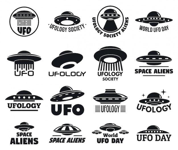 Conjunto de logos voladores de ovnis