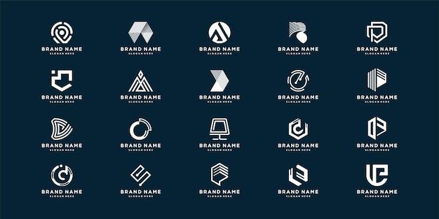 Conjunto de logotipo abstracto de carta con elemento creativo para empresa o persona inicial