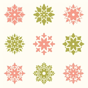 Conjunto de logotipo abstracto diseño de flores