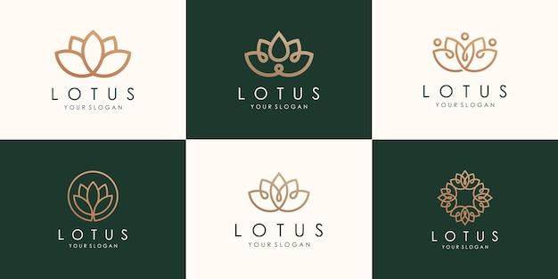 Conjunto de logotipo abstracto flor de loto