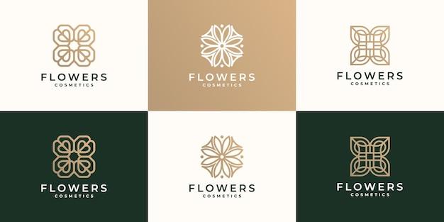 Conjunto de logotipo abstracto flor rosa