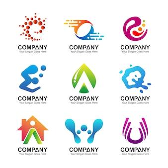 Conjunto de logotipo abstracto de negocios, iconos de identidad corporativa