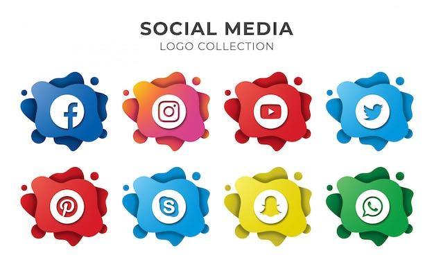 Conjunto de logotipo abstracto de redes sociales