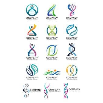 Conjunto de logotipo de adn abstracto