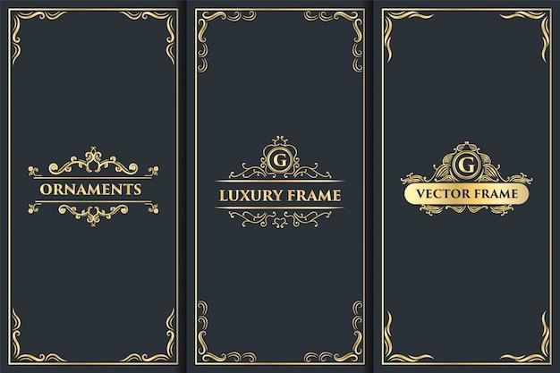 Conjunto de logotipo de adorno de lujo vintage y diseño de empaque dorado