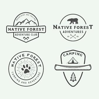 Conjunto de logotipo al aire libre camping