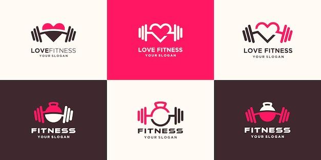 Conjunto de logotipo de amor de fitness abstracto. pesa rusa combinada con mancuernas y diseño de logotipo de corazón
