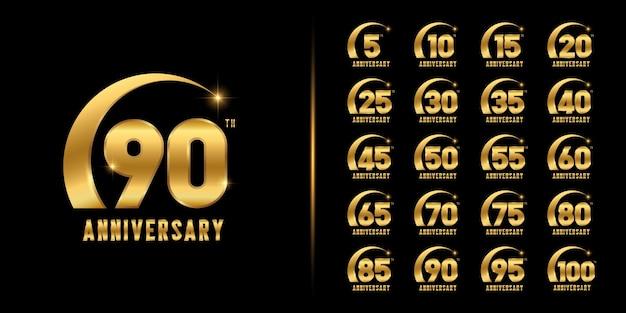 Conjunto de logotipo de aniversario. celebración del aniversario de oro.