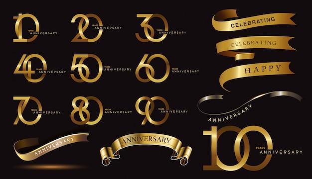 Conjunto de logotipo de aniversario y cinta dorada. diseño de emblema de celebración de aniversario de oro