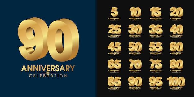 Conjunto de logotipo aniversario dorado.
