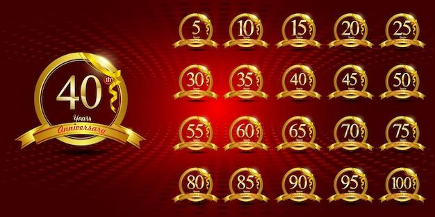Conjunto de logotipo de aniversario de oro. con anillo y cinta